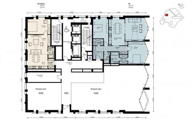 Архитектурная концепция многофункционального жилого комплекса в Сетуньском проезде © Сергей Скуратов ARCHITECTS