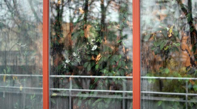Вид на зимний сад снаружи. Здание посольства Финляндии в Москве. Хилдинг Экелунд, 1935-1938. Фотография: Архи.ру