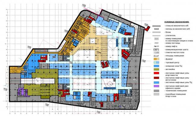 Многофункциональный комплекс с подземной автостоянкой на ул. Киевская. Схема плана -1 этажа
