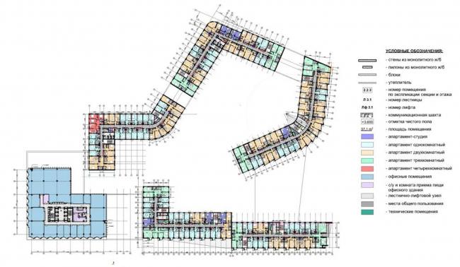 Многофункциональный комплекс с подземной автостоянкой на ул. Киевская. Схема свободного плана типового этажа