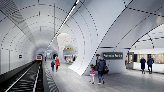 Станция метро «Форнебю». Изображение © VA