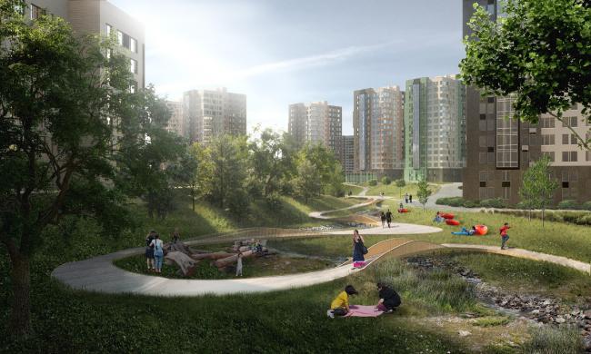 Концепция общественных пространств ЖК «Скандинавия» © MAP architects. Предоставлено ГК А101