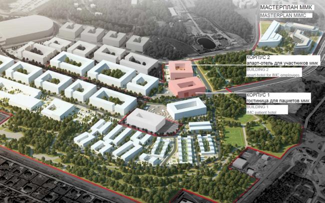 Международный медицинский кластер в Сколково. Уточненный генплан района D-1 с объектами ММК. Изображение предоставлено Архитектурным бюро Асадова