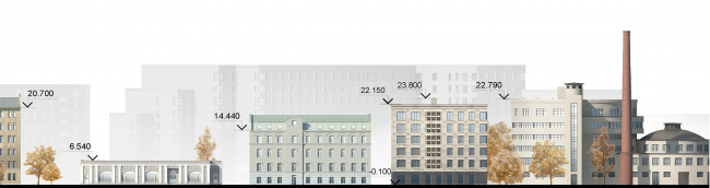 The residential complex Futurist. Development drawing along the Levashovsky Avenue © Evgeny Gerasimov and Partners