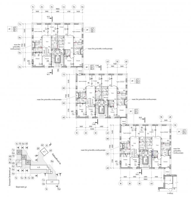 Жилой комплекс Futurist. 1-3 корпус, типовой этаж © Евгений Герасимов и партнеры