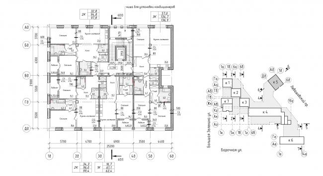 Жилой комплекс Futurist. 5 корпус, типовой этаж © Евгений Герасимов и партнеры
