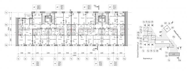 Жилой комплекс Futurist. 6 корпус, типовой этаж © Евгений Герасимов и партнеры
