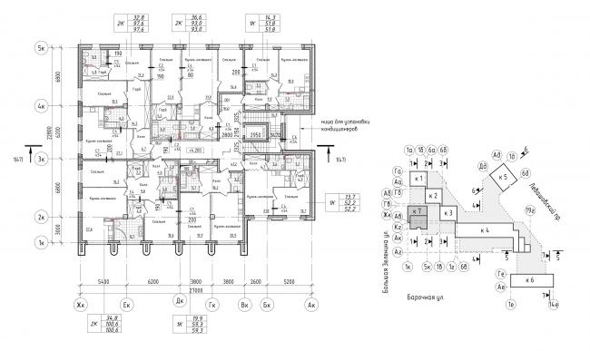 Жилой комплекс Futurist. 7 корпус, типовой этаж © Евгений Герасимов и партнеры
