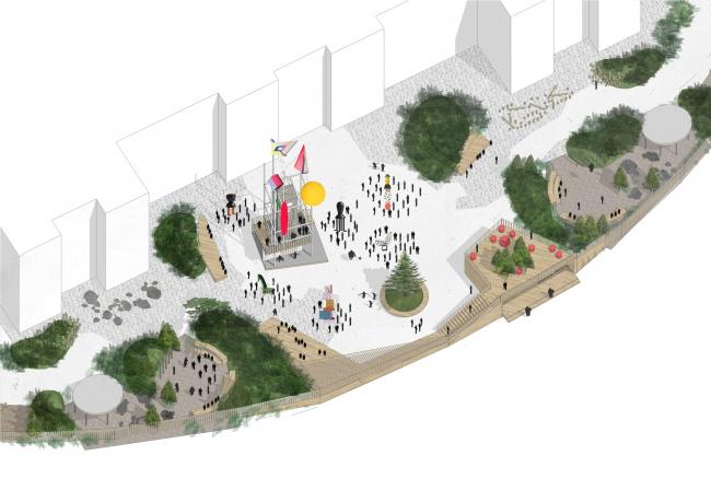 Концепция благоустройства ОАНО «Новая школа». Сценарии использования парадной площади школьного двора: выставка и общение