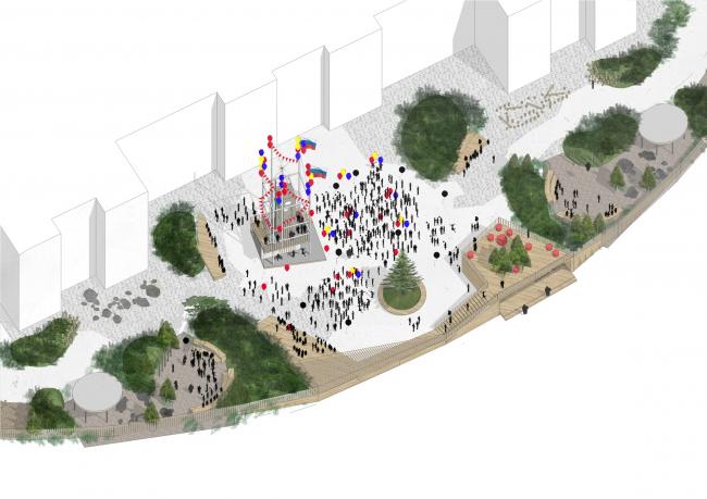 Концепция благоустройства ОАНО «Новая школа». Сценарии использования парадной площади школьного двора: праздник