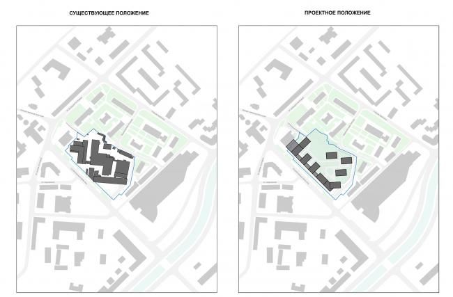Жилой комплекс с подземной парковкой на Малой Почтовой улице, 12. Схема существующего и проектного положения