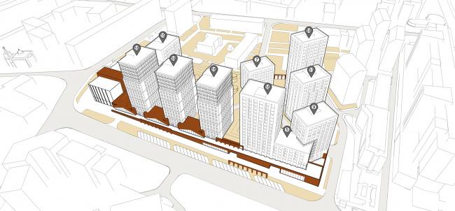 Жилой комплекс с подземной парковкой на Малой Почтовой улице, 12. Схема этажности