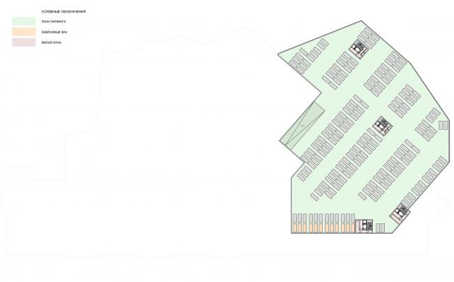 Жилой комплекс с подземной парковкой на Малой Почтовой улице, 12. Схема плана парковки на отм. -12.000