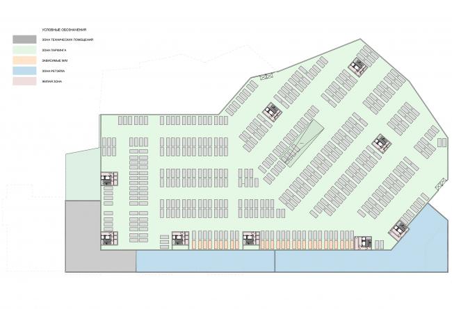 Жилой комплекс с подземной парковкой на Малой Почтовой улице, 12. Схема плана парковки на отм. -8.600