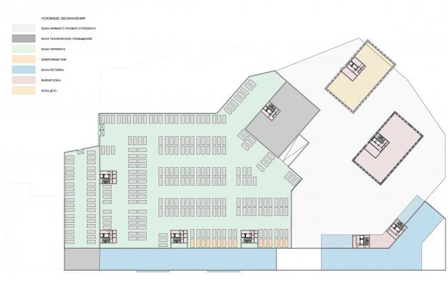 Жилой комплекс с подземной парковкой на Малой Почтовой улице, 12. Схема плана парковки на отм. -5.200