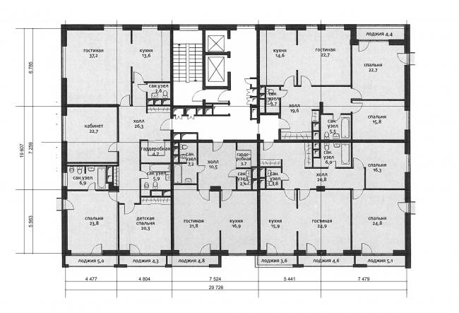 Жилой комплекс с подземной парковкой на Малой Почтовой улице, 12. Схема плана типового этажа B5