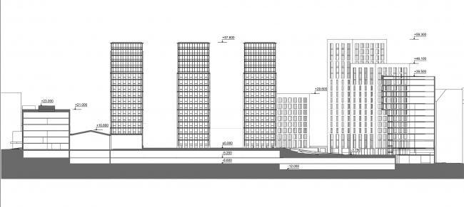 Жилой комплекс с подземной парковкой на Малой Почтовой улице, 12. Схема разреза 1-1