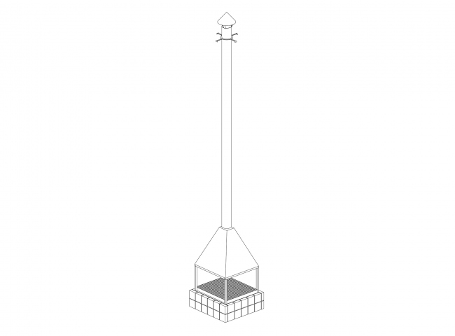 The pavilion of chacha ceremonies; author: Alexander Brodsky, coauthor: Maria Kremer. Axonometric drawing of the fireplace. 2018.