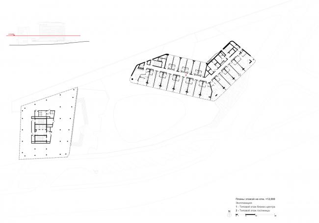 Отель Камчатка. План типового этажа БЦ + гостиница
