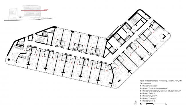 Отель Камчатка. План типового этажа гостиницы