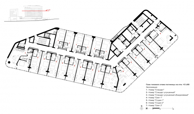 Kamchatka Hotel. The plan of the standard floor © TOTEMENT/PAPER