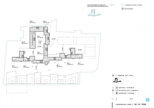 Дом в Зеленой роще. Планировочная схема. 2-5 этаж © Архитектурное Бюро ОСА