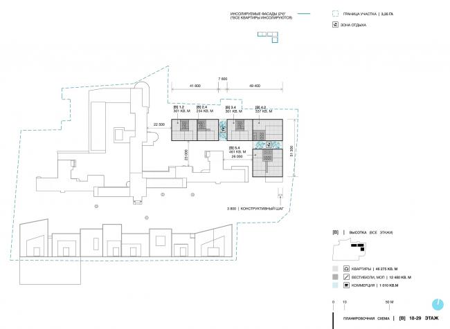 Дом в Зеленой роще. Планировочная схема. 18-29 этажи © Архитектурное Бюро ОСА