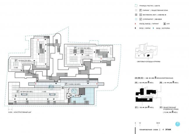 Дом в Зеленой роще. Планировочная схема. -1 этаж © Архитектурное Бюро ОСА