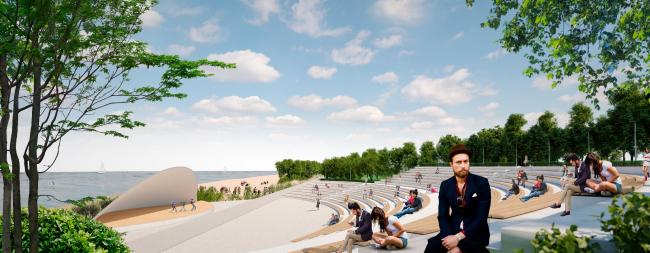 "Waterfront project in Kazan. ""Eco-Shore"" festival, 3rd prize. Architects: Roman Leonidov, A.Shutegov, P.Sorokov, S.Fiantseva, Y.Galkina, A.Shpilko, S.Tsarkov, E.Kurmalieva, N.Kharlamova"