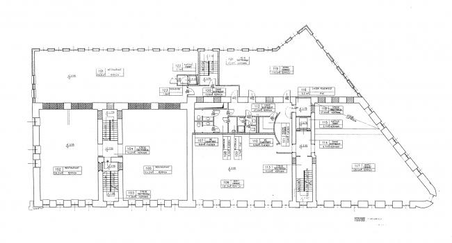 План 2 этажа. Проект. Гринхаус. Реконструкция дома по Большой Никитской, 17к1. Архитектурная мастерская АБВ, Павел Андреев
