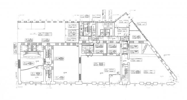 План 1 этажа. Проект. Гринхаус. Реконструкция дома по Большой Никитской, 17к1. Архитектурная мастерская АБВ, Павел Андреев