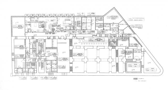 Plan of the basement. Project. Green House. The reconstruction project at Bolshaya Nikitskaya, 17, Bld. 1. ABV Architects, Pavel Andreev