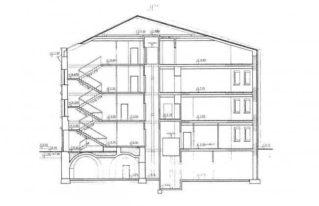 Cross-section view. Green House. The reconstruction project at Bolshaya Nikitskaya, 17, Bld. 1. ABV Architects, Pavel Andreev