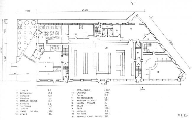 Эскизное предложение, план 1 этажа. Гринхаус. Реконструкция дома по Большой Никитской, 17к1. Архитектурная мастерская АБВ, Павел Андреев