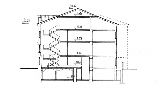 The schematic design, the cross-section view. Green House. The reconstruction project at Bolshaya Nikitskaya, 17, Bld. 1. ABV Architects, Pavel Andreev