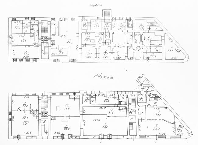 Measurements before the reconstruction. The basement and the 1st floor. House at Bolshaya Nikitskaya, 17, Bld. 1. ABV Architects, Pavel Andreev