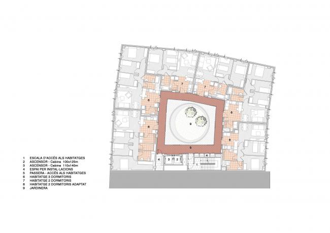 Комплекс социального жилья у бывшей фабрики Кан-Бальо © Espinet Ubach Arquitectes i Associats