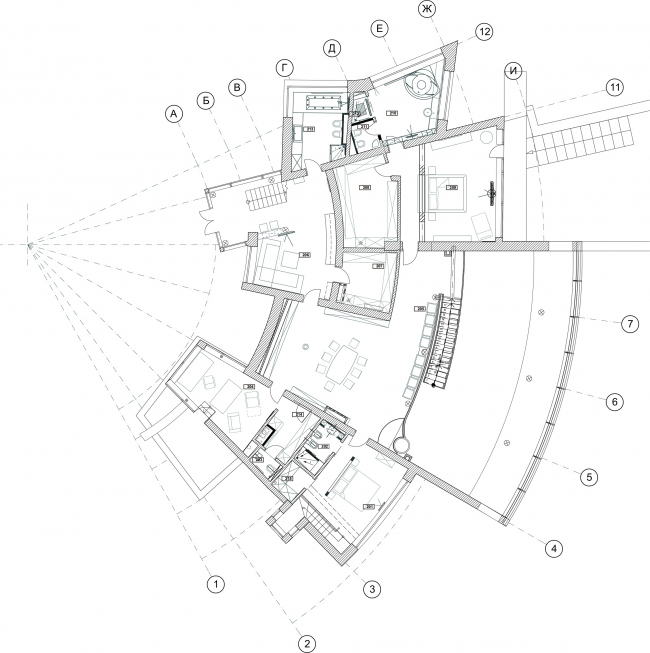 The ZEPPELIN residence. Plan of the 2nd floor © Studio of Roman Leonidov