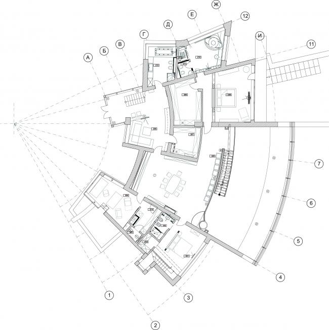 The ZEPPELIN residence. Plan of the 2nd floor © Studio of Roman Leonidov