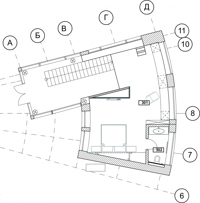 Жилой дом ZEPPELIN. План 3 этажа © Архитектурное бюро Романа Леонидова