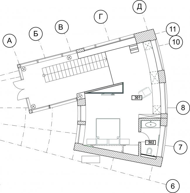 The ZEPPELIN residence. Plan of the 2rd floor © Studio of Roman Leonidov