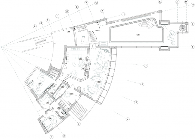 Жилой дом ZEPPELIN. План 1 этажа © Архитектурное бюро Романа Леонидова