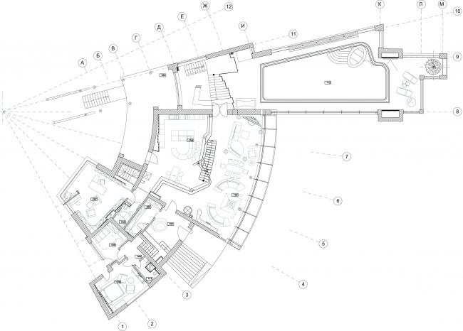 The ZEPPELIN residence. Plan of the 1st floor © Studio of Roman Leonidov