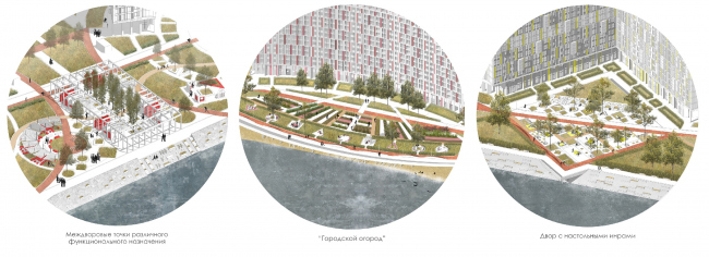 The concept of landscaping the pedestrian areas and public territories on the alluvial lands of the Neva Bay. Copyright: © Studio 44
