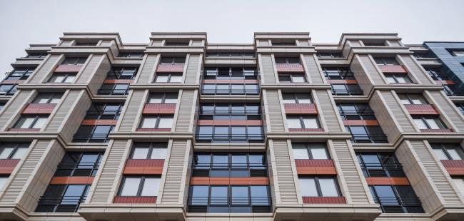Многоквартирный жилой комплекс «Европа Сити» на проспекте Медиков. Фрагмент фасада в перспективе