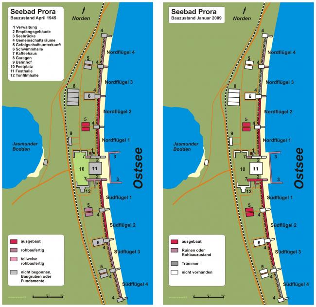 План курортного комплекса в 1945 и в 2009 (отмечены реализованные и не реализованные части). Автор изображения: Presse03 via Wikimedia Commons. Лицензия Creative Commons Attribution-Share Alike 3.0 Unported