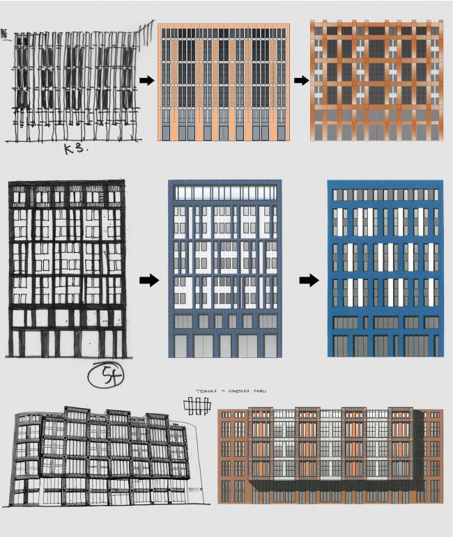 Многоквартирный жилой комплекс «Европа Сити» на проспекте Медиков. Проект, 2015. Эскизы фасадов
