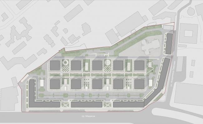 Многоквартирный жилой комплекс «Европа Сити» на проспекте Медиков. Границы участка