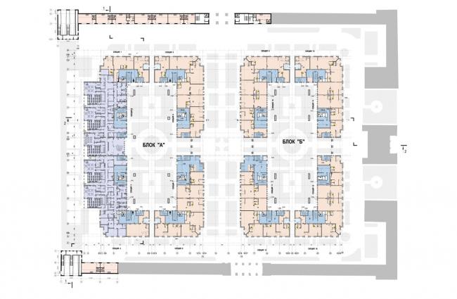 Жилой комплекс на территории комбината «Петмол». План 1 этажа на отм. +0,000