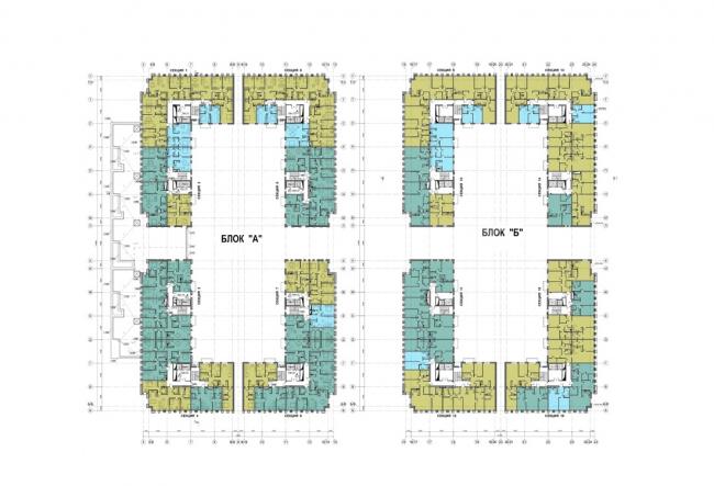 Жилой комплекс на территории комбината «Петмол». План 2 этажа на отм. +3,900,+7,200